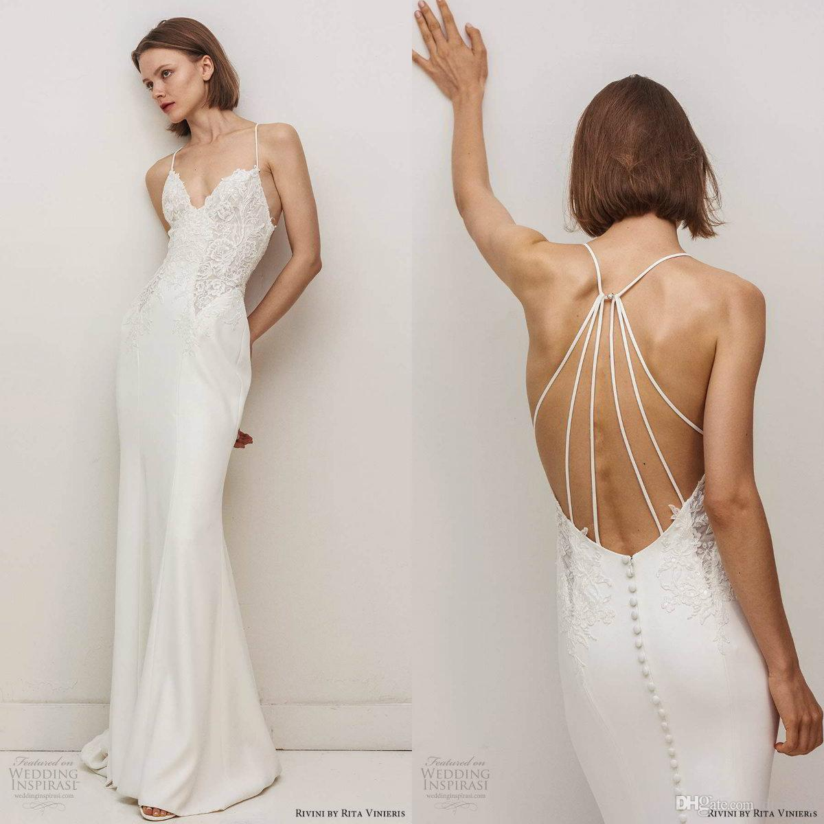 2020 Sexy Spaghetti Mermaid Wedding Dresses Appliques Lace Stain Floor Length Wedding Dress Custom Made Country Bridal Gowns
