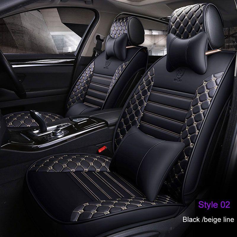 Stripe Style  PU Leather 5-Seats Sedan SUV Car PU Leather Seat Cover Front+Rear
