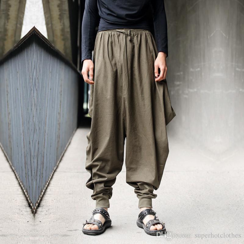 Erkekler pantolon Japon Samuray Tarzı Boho Rahat Düşük Bırak Kasık Gevşek Fit Harem Baggy Hakama Capri Kırpılmış Keten Pantolon pantolon