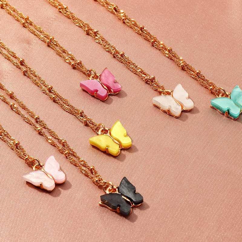 DoreenBeads Новый Корейский Бабочка Серии Ожерелья Для Женщин Аксессуары Мода Блеск Акриловые Кулон Ожерелья Сладкий Подарок