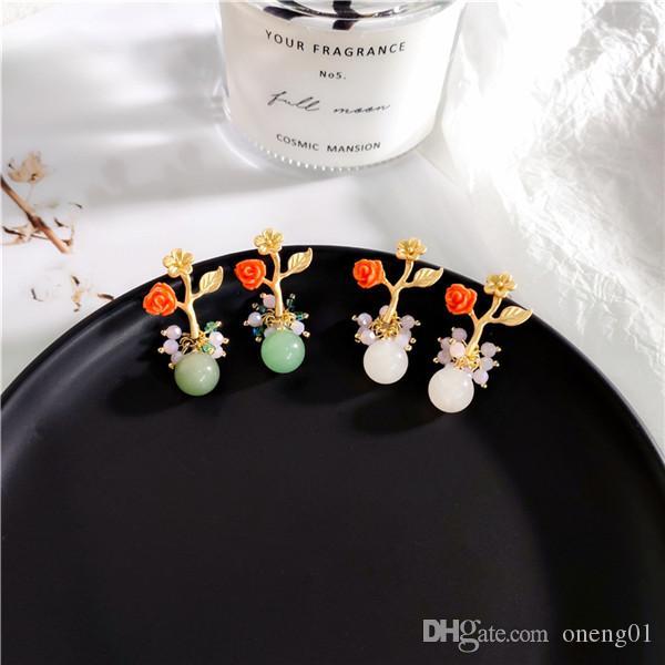 Moda S925 brincos de prata para as mulheres de cristal pedra natural rosa flor brincos partido jóias de casamento