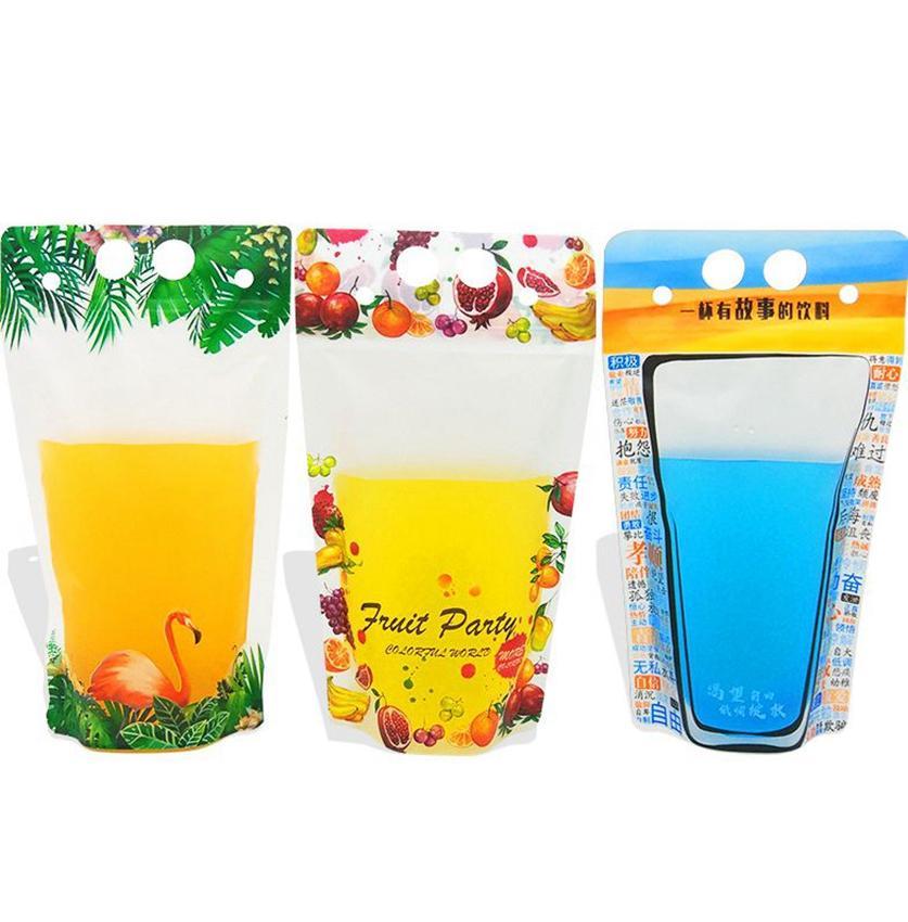 500мл Пластиковые Drink Упаковка Мешок Flamingo фрукты шаблон Stand вверх Пейте мешок для напитков сок Молоко Кофе KKA7881