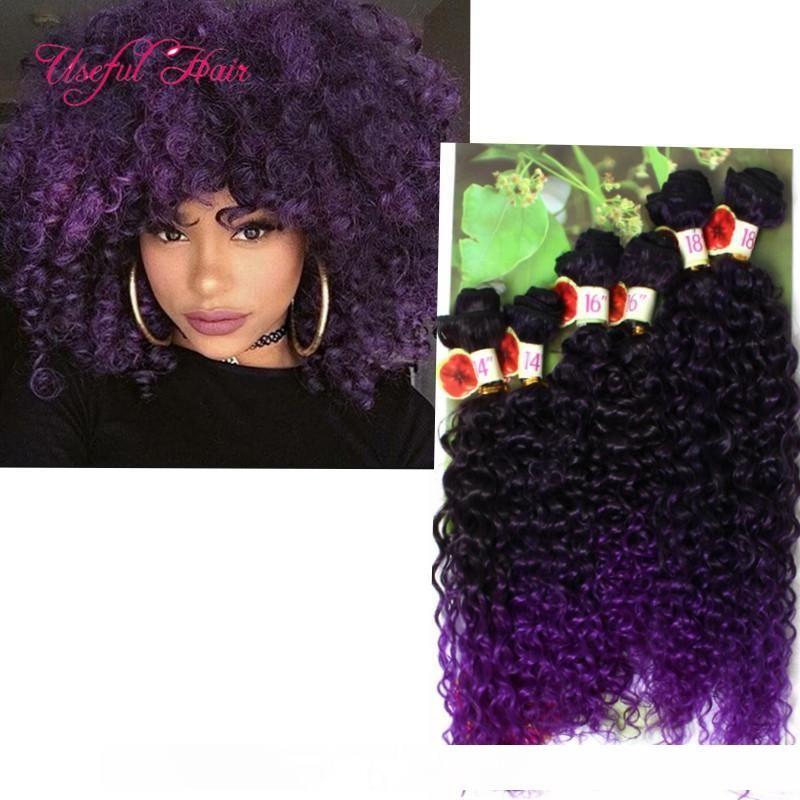 Freetress pelo onda profunda SEW de las Extensiones de cabello rizado de trenzas Jerry rizado, trenzado sintético, haces de tejido de color burdeos PARA MUJERES
