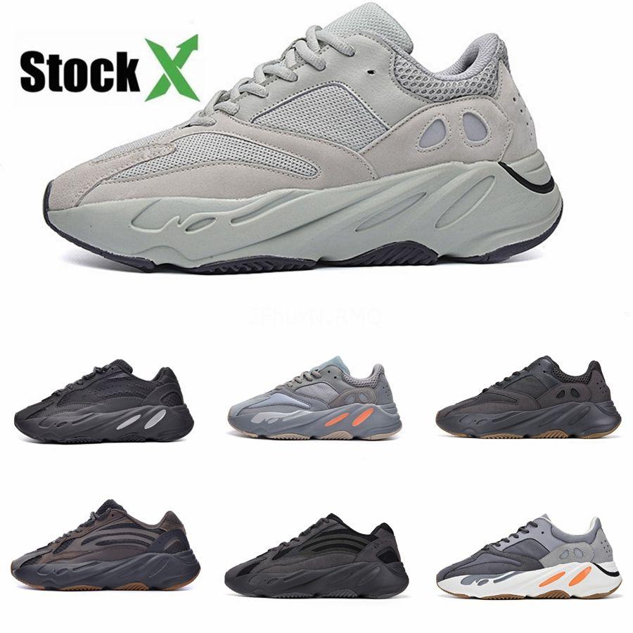 2020 zapatos corrientes Mnvn 700 Naranja Alvah V1 V2 V3 Bone inercia Tefra estático sólido Kanye West para hombre de las zapatillas de deporte de las mujeres de Carbono Azul hospital # DSK315