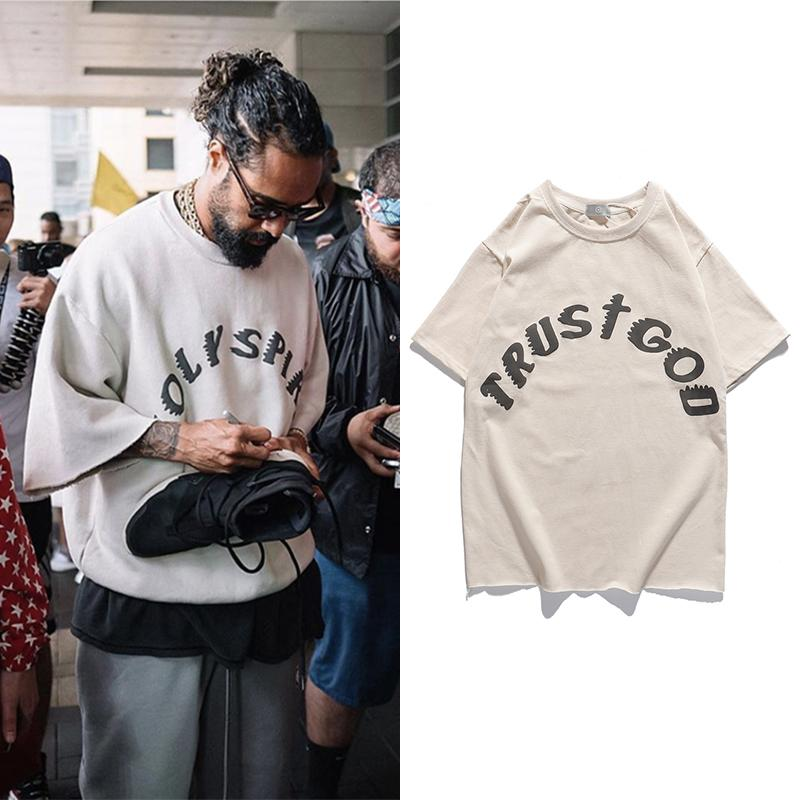 Воскресная служба Kanye West Футболка Vintage Крупногабаритные Printed Tshirts Мужчины Женщины Hip Hip граффити с коротким рукавом Top Tee Streetwear T200521