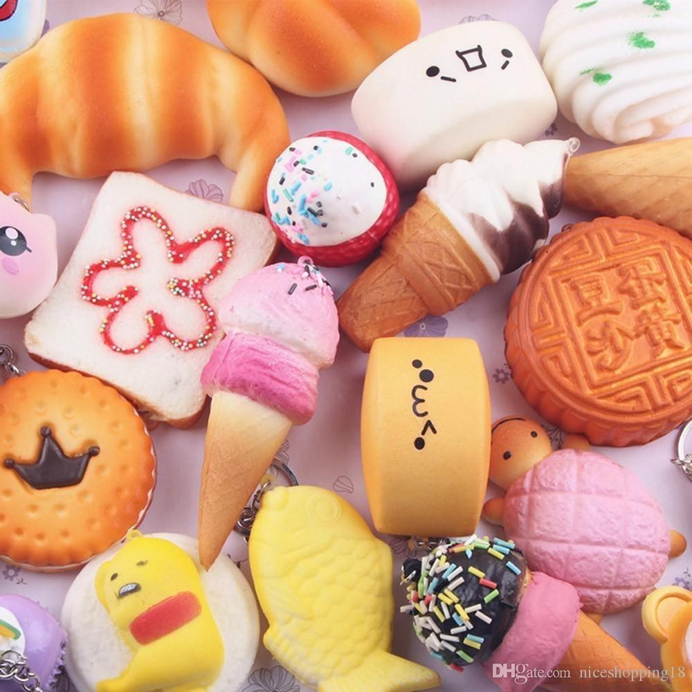 Squishy toy Wholesale 10pcs Medium Mini Soft Squishy Bread Toys Key Chain Key Ring Design #236 Decompression Toy