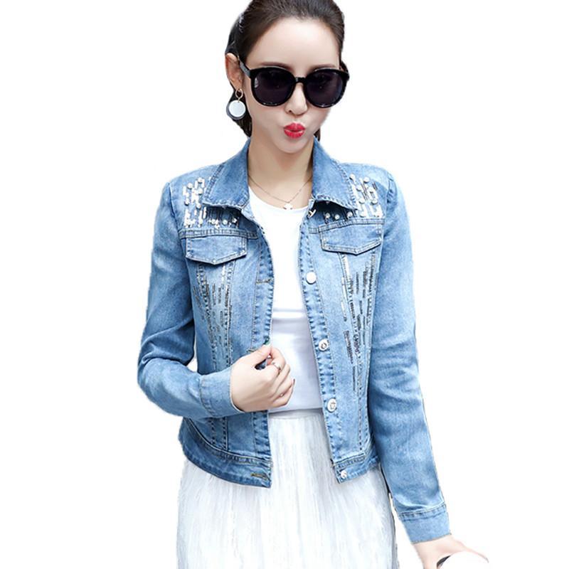 Giacca donna denim primavera taglie forti donna 2018 manica lunga Chaqueta Mujer slim jeans perlato giacca donna cappotto in denim con paillettes Y190830