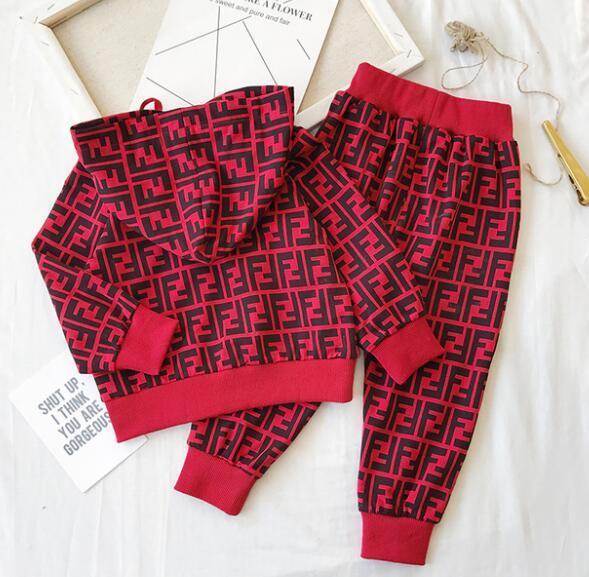 Детская одежда набор дизайнер тег Девочка Мальчик кофты с длинным рукавом футболки + повседневные брюки 2 шт. Комплект малыш наряд дети Cothing костюм