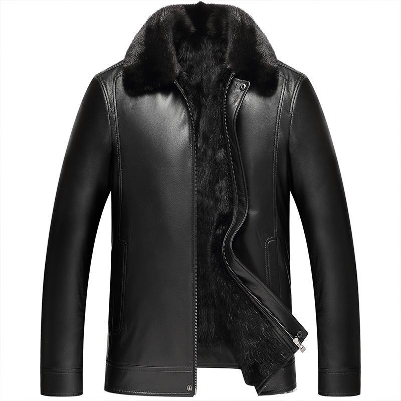 Mink coat menny overcome Haining leather leather men's mink liner sheep jacket fur coat