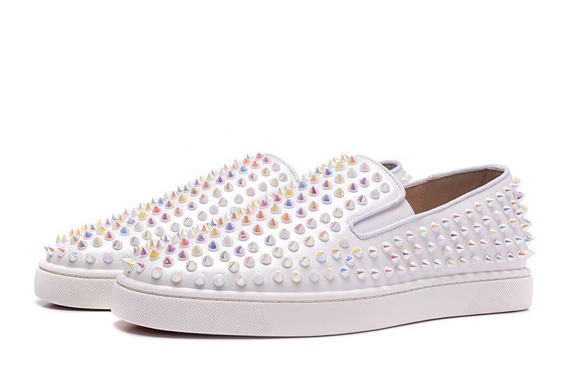 Nuove scarpe da uomo e da donna firmate scarpe da uomo in vera pelle, scarpe basse a punta bianca