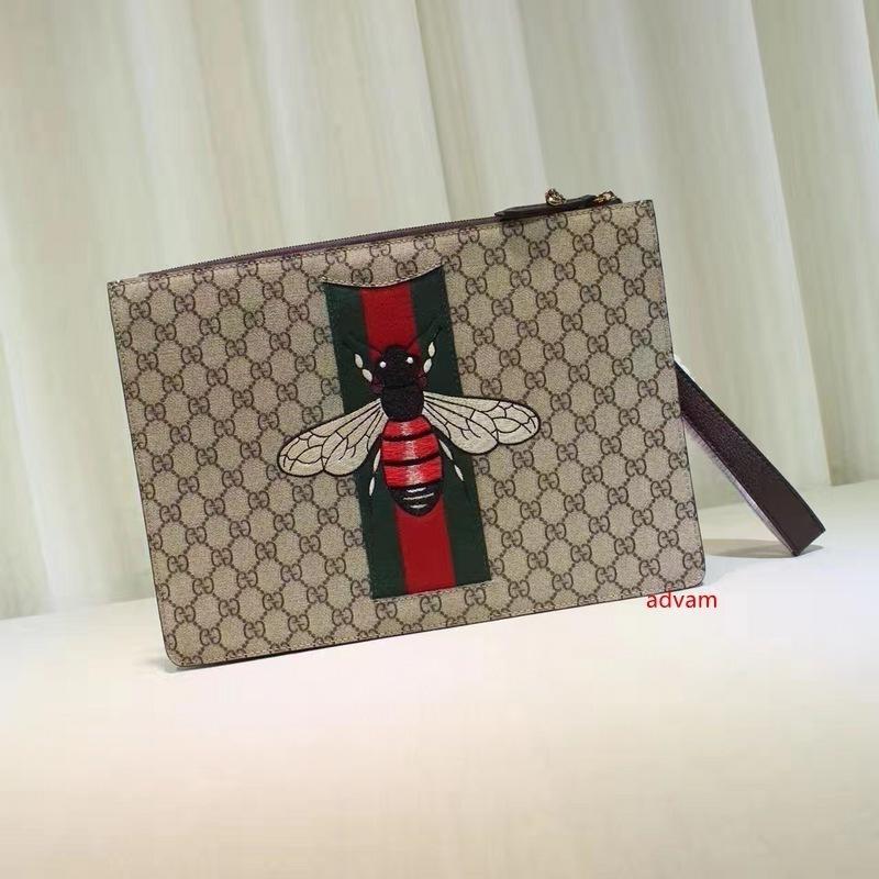 2020 Top Celebrity qualità disegno Lettera goffratura ricamo ape su tela di grandi dimensioni frizione del cuoio genuino della tela di canapa 433.665 Messenger Bag