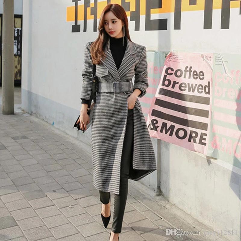 2019 осенью и зимой корейской версии офисных леди костюм воротник длинный участок моды талии шерсть ломаную клетку пальто