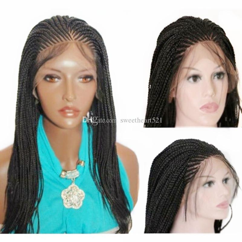 Free Shipping Micro Braid Wig with Baby Hair Black Synthetic Lace Front Wig Heat Resistant Fiber Braided Box Braids Wig for Black Women