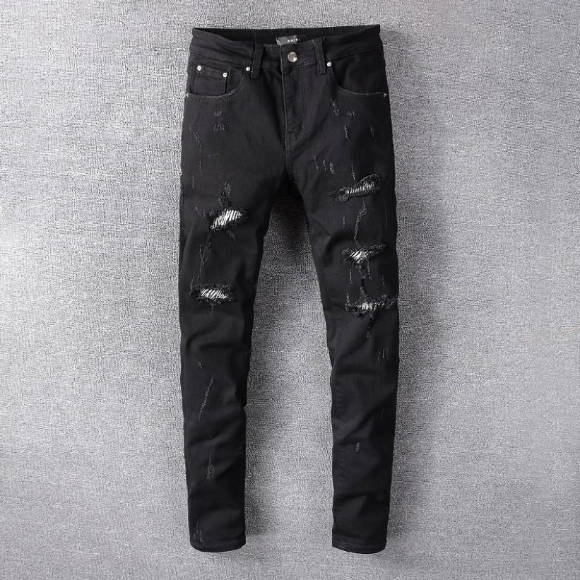 2020 tasarımcı kot erkek yaz moda streç Ince düz kot denim eğilim gündelik erkek pantolonları toptan-2