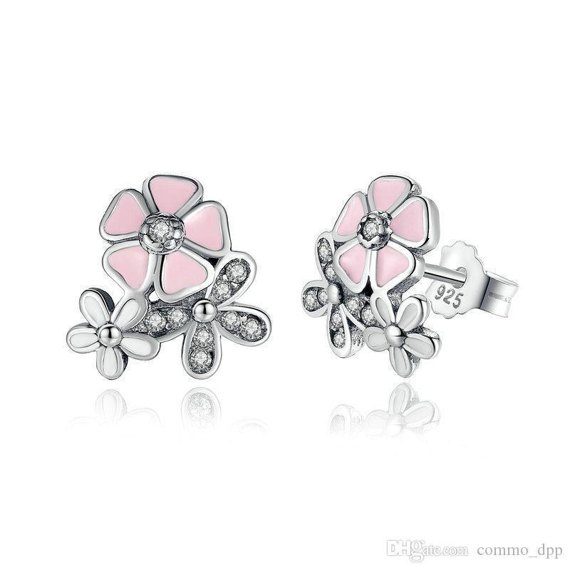 Роскошные стерлингового серебра 925 поэтический Ромашка вишневый цвет серьги ясно розовый CZ цветок женщины обручальные шпильки для женщин мода ювелирные изделия