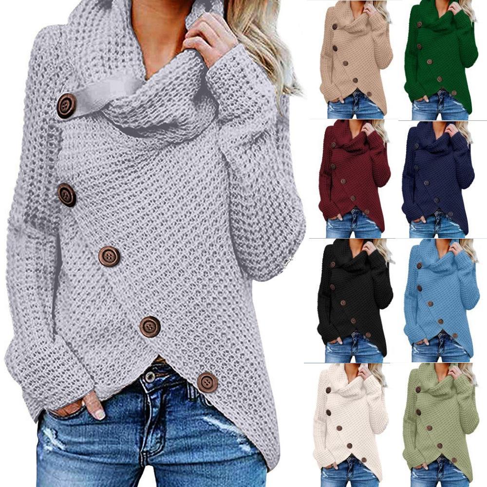 Unregelmäßige Knopf Langarm-Jacke und -winterfrauen