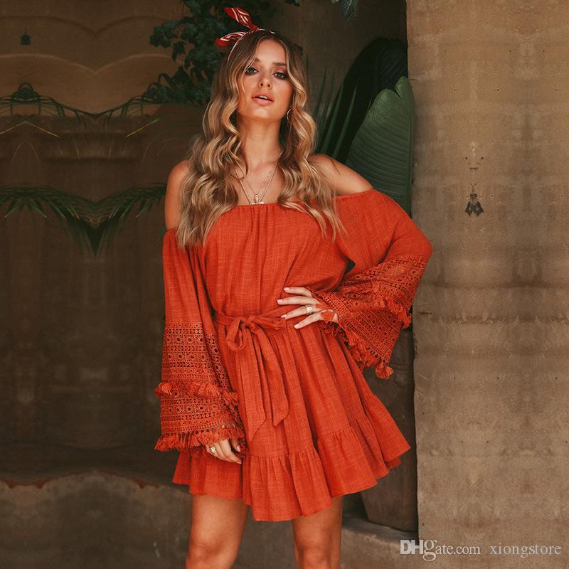 Mode vintage casual plus size kleider sexy strand lange sexy boho dress frauen 2019 sommer vintage mini strand rote mädchen urlaub kleidung