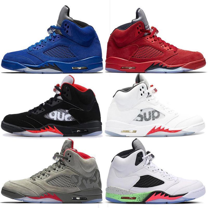 nuova moda 5 5s pelle scamosciata uomini scarpe da basket Blu Rosso Toro scatenato Bianco Camo Sneakers 5s sfera Scarpe Uomo Basket Sneakers Sport Mens Trainers