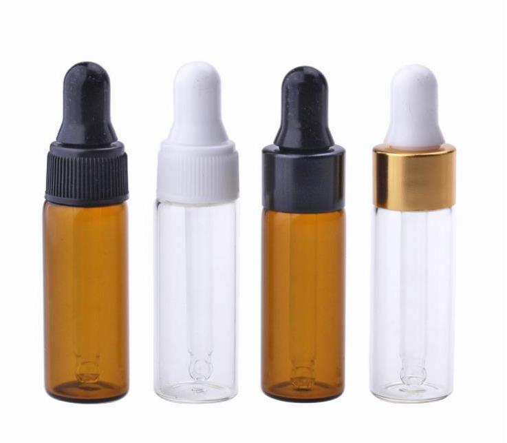 3000Pcs/Lot Empty Amber Clear Glass Dropper Bottle Vials 5ml Mini Liquid Bottles For Essential Oil Perfume SN3114