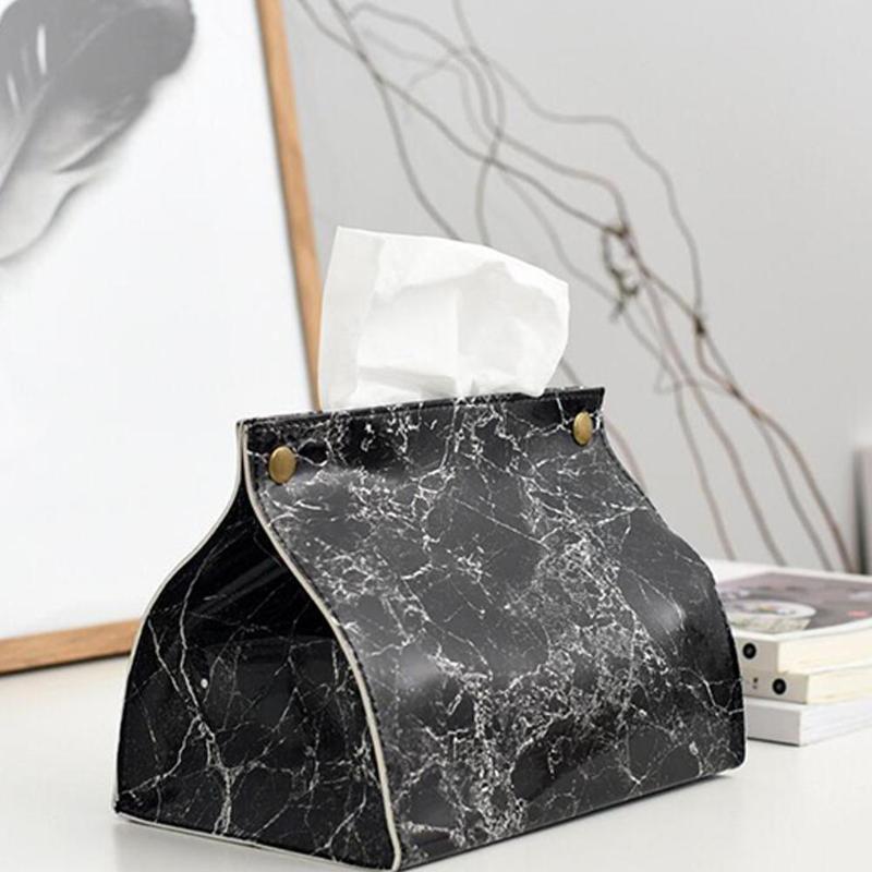 AsyPets Marmorierte Leder Tissue Box Startseite Wohnzimmertisch Lagerung Handtuch Bag