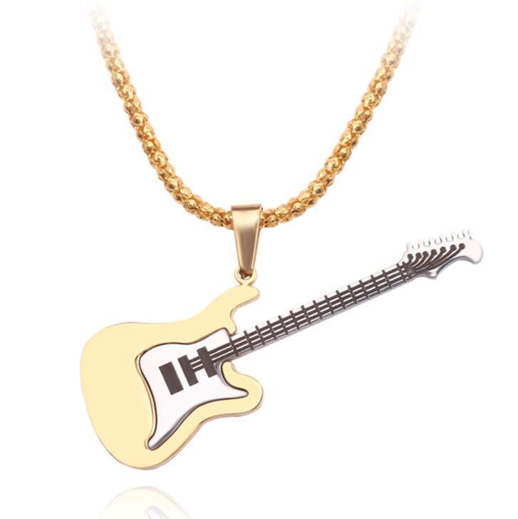 хип-хоп ожерелье гитары нержавеющей стали для мужчин, женщин мужские подвески золото серебро цепи ожерелье ювелирные изделия подарок