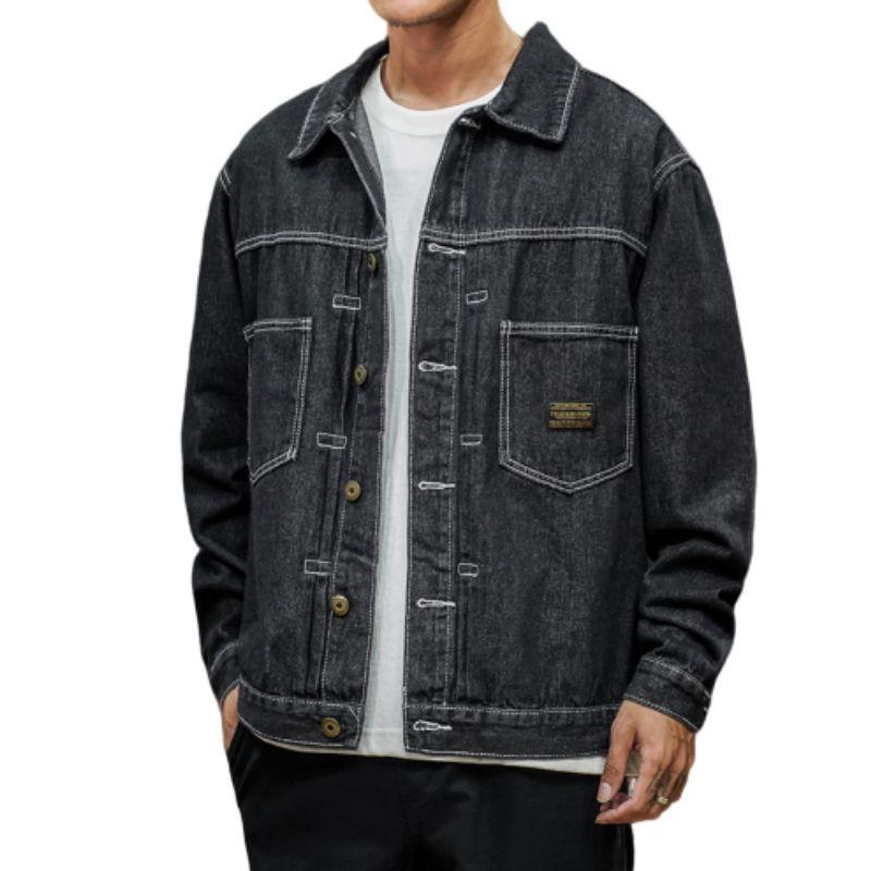 Япония Стиль мужских джинсы куртка черных Джинсовые куртки Hip Streetwear Охладить Man пальто большого размера M-5XL Bomber Jacket для мальчиков мужских