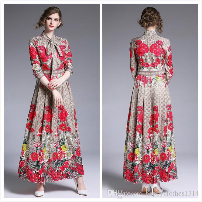 2020 Новый Роскошный Цветочный Принт Лук Платье Плюс Размер Женщины С Длинным Рукавом Макет Шеи Тонкий Дамы Взлетно Посадочной Полосы Платья Тонкий Элегантный Офис Дизайнер Платье