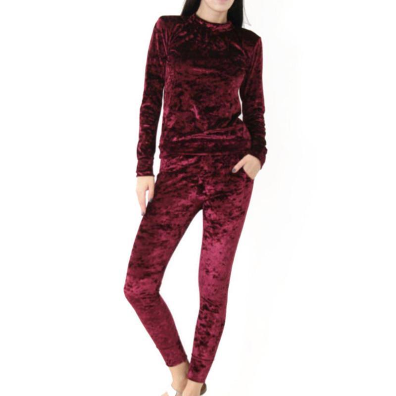 Autumn Winter Women Tracksuit Velvet Hoodies + Pants 2 Pieces Female Casual Tracksuit Velour Fashion Women Sets KH964744