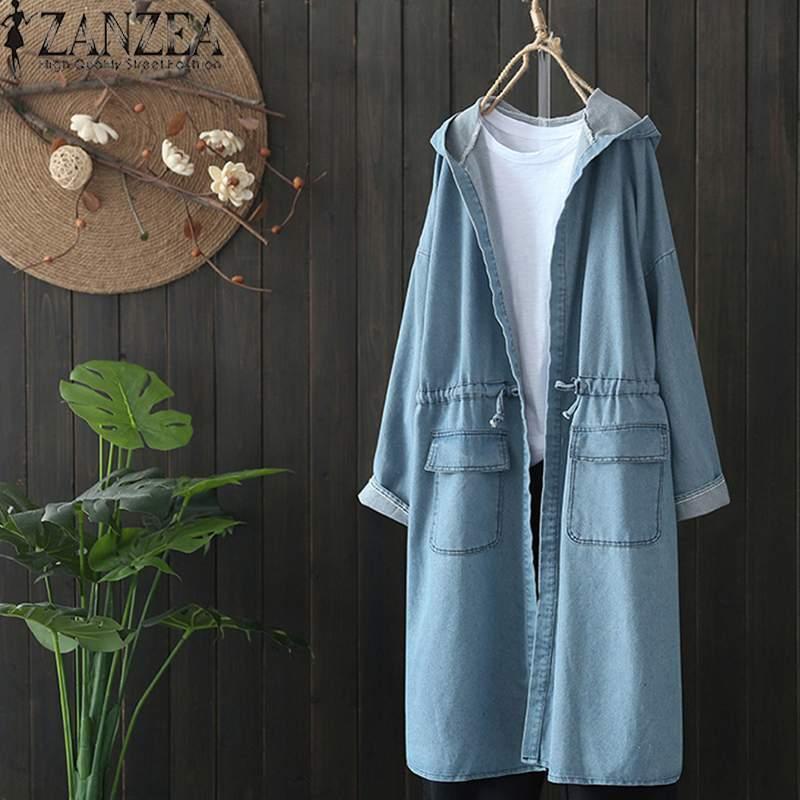 2020 más el tamaño de la moda de primavera ZANZEA partido de las mujeres del dril de algodón azul sólido ocasional de la manga larga encapuchada larga Cardigan chaquetas Outwear T200407 Escudo