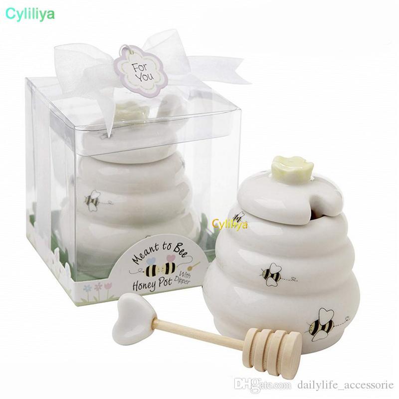 السيراميك يعني أن نحلة العسل جرة عاء السيراميك وعاء العسل مع حفل زفاف تفضل قحافة خشبية الهدايا