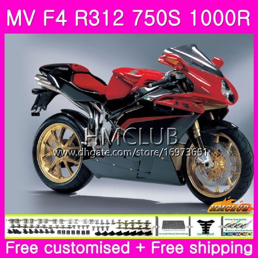 Body for MV Agusta F4 MV-F4 R312 750S 1000 R 750 1000CC 05 06 키트 27HM.14 1000R 312 1078 1 + 1 MA MV F4 2005 2006 05 06 페어링 탑 블랙 레드