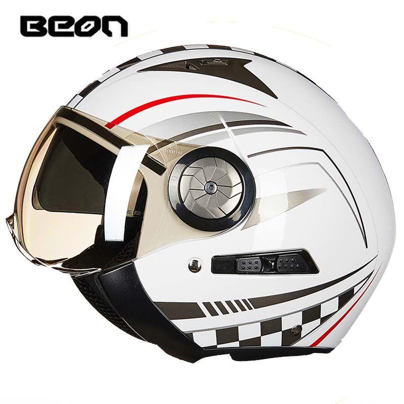 أصيلة Beon الأزياء الأمن عدسة مزدوجة خمر هارلي نمط نصف الوجه دراجة نارية خوذة ABS إبقاء دافئ دراجة نارية خوذة b216 حجم m l xl