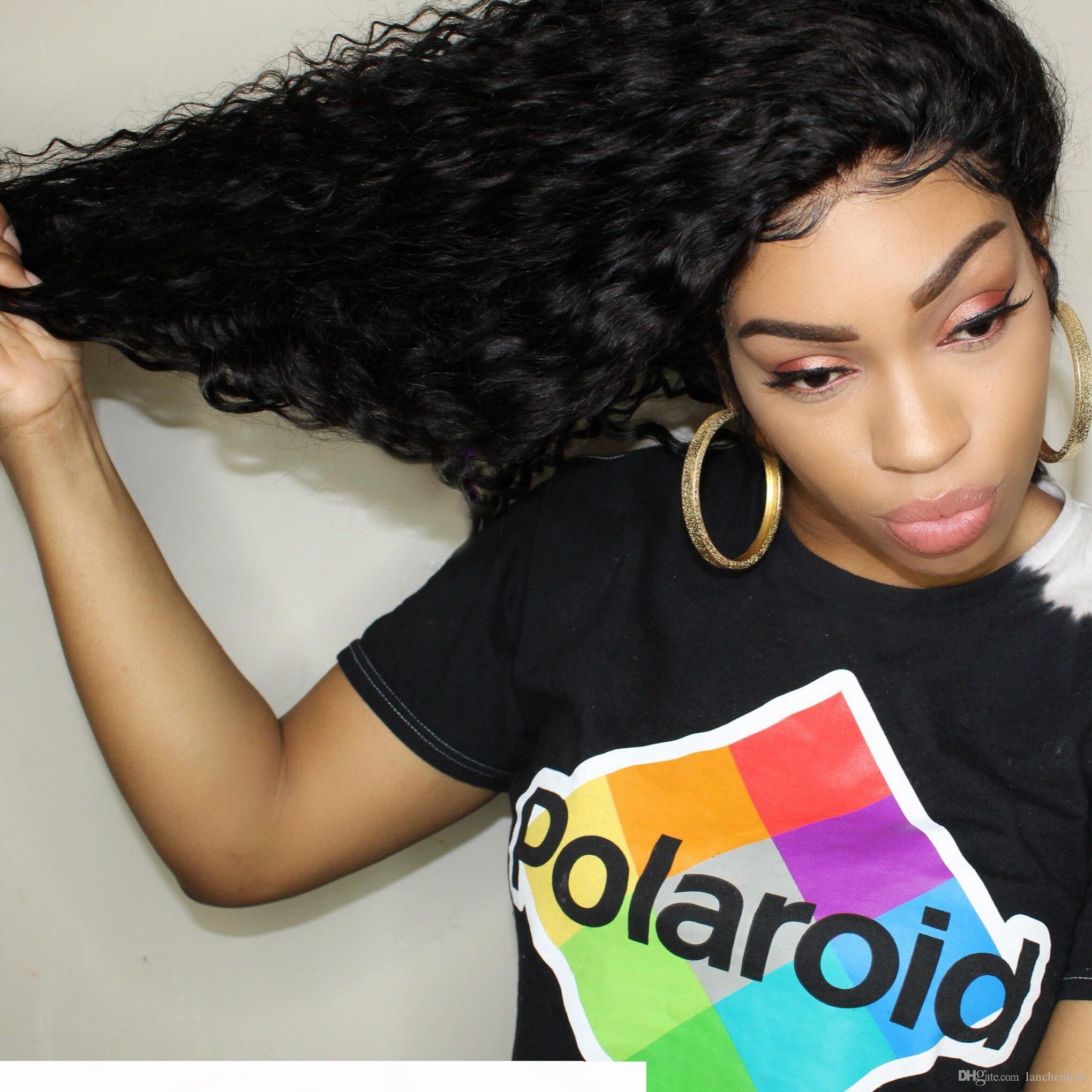 Cabello humano pelucas delanteras profunda brasileña cordón de la onda con el frontal de la peluca del pelo del bebé Pre-desplumados rayita sin cola Afro profundamente rizado encaje para las mujeres Negro