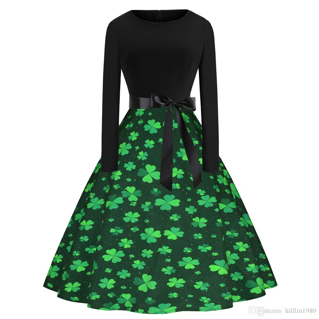 St. Patrick's Day Casual Vintage Dress Shamrocks Printing Costume Ireland Festival Fashion Clothing Leprechaun Retro Midi Party Dresses
