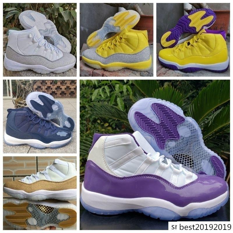 Nuovi 11 Scarpe XI WMNS argento metallizzato Giallo 11s di pallacanestro del Mens bianchi viola rosa formatori Sport Sneakers Jumpman des Chaussures zapatos