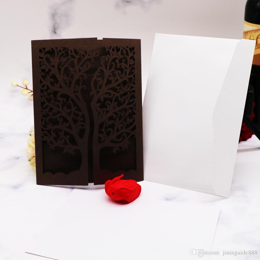 100pcs Free Shipping Invitations & Blank Inner Page ,Graduation Universal Festival Invitations Card,Hollow Laser Cut Cover