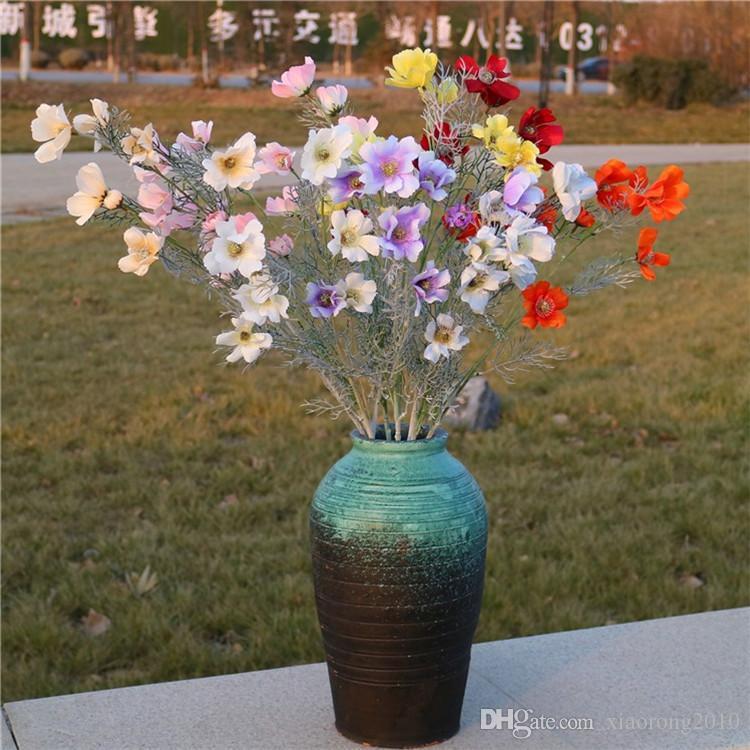 """Fake Flocking Auspicious Flower (9 heads/piece) 30.7"""" Length Simulation Cosmos for Wedding Home Decorative Artificial Flowers"""