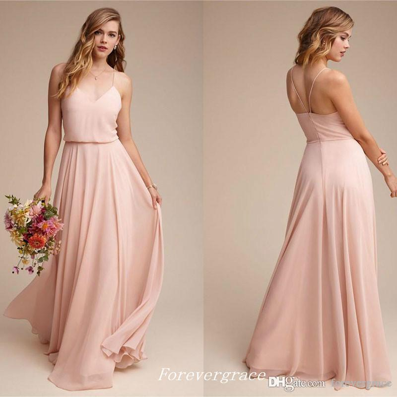 2019 Elegant Cheap Backless Pink Long Bridesmaid Dress Garden V-neck Maid of Honor Dress Wedding Guest Gown Custom Made Plus Size