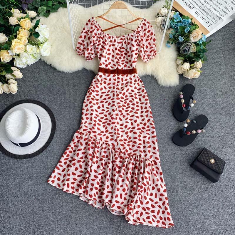 Piazza Donne Collare stampa floreale del vestito di Boho della spiaggia di modo di estate veste le signore lungo senza bretelle irregolare Dress Ruffle Abiti