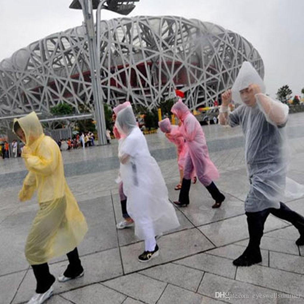 De una sola vez desechable impermeable disponible PE abrigo impermeable poncho ropa impermeable viaje capa de lluvia Lluvia Lluvia usan la capa de viajes