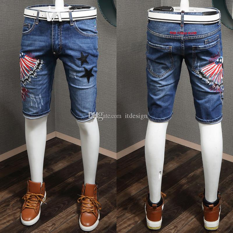 Distressed Jean Shorts Men Star Embroidery Fashion Nice Quality Denim Cotton Shorts Cool Guy Size 28-36