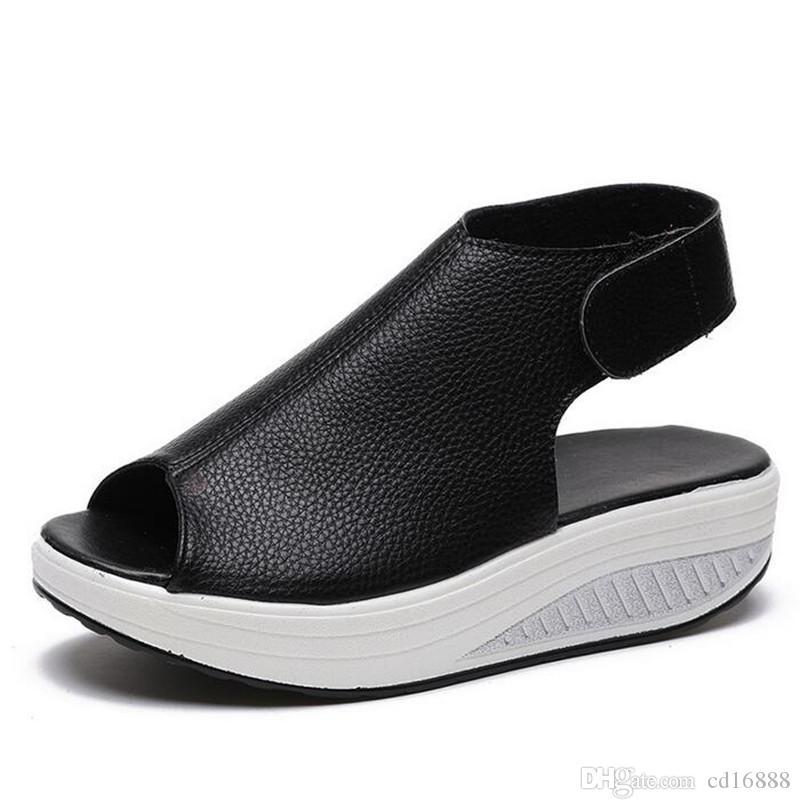 de plataforma zapatos de moda calientes del verano de las mujeres de las sandalias sandalias de las cuñas 2020 sandalias de cabeza de pescado zapatillas de deporte de cuero genuino de peso casuales zapatos de mujer nueva