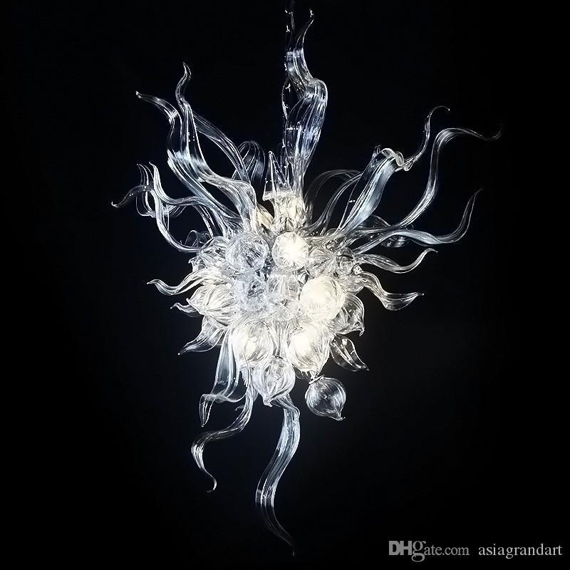100٪ الفم في مهب CE UL البورسليكات زجاج مورانو كيلي دايل الفن واضح زجاج الثريا فريد تناول الطعام إضاءة غرفة