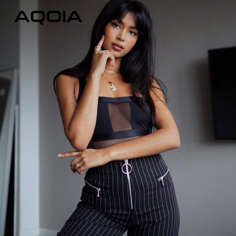 AQOIA reizvolle Perspektive Strap Backless sleeveless Bodysuit Women2020 Sommer-Frühlings-Patchwork höhlen heraus schwarze dünne Bodysuits