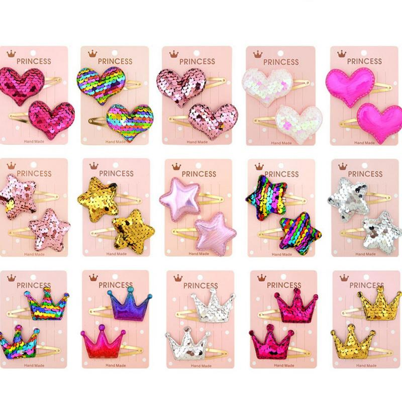 Baby Girls Safe Stereoscopic Hairpin Handmade Heart imperial crown Shinning Glitter Bow Hair Clip For Kids Hair Accessories 035