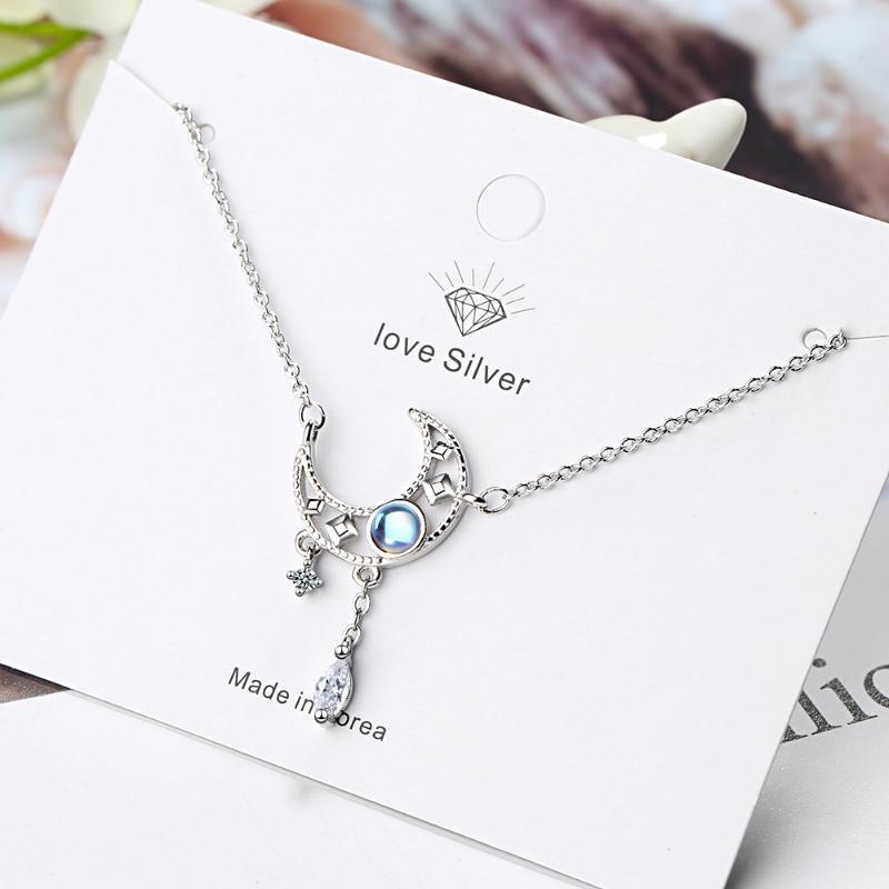 925 plata esterlina colorido de la cadena de clavícula joyería de plata Moonstone de la luna collar borla collar de circón para las mujeres S-N508