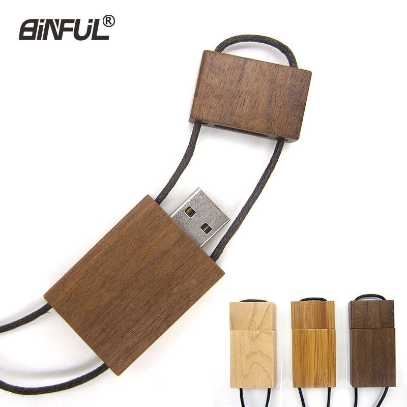 Real Capacity Flash Wooden Pendrive 64gb 32gb 16gb 8gb 4gb Magnet Stick Memory Usb 2.0 Lanyard Pen Drive