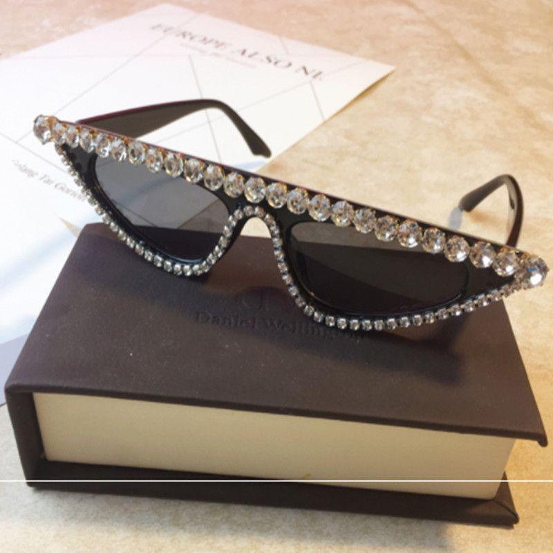 NEUE Luxus Kristall Cat Eye Sonnenbrille Frauen Designer Kleine UV400 Sonnenbrille Schwarz Strass Eyewear CC300