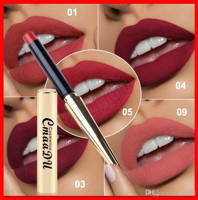 2019 maquillaje de labios cmaadu cosméticos tubo oro mate lápiz labial 12 colores mate bala lápiz labial profesional lipgloss