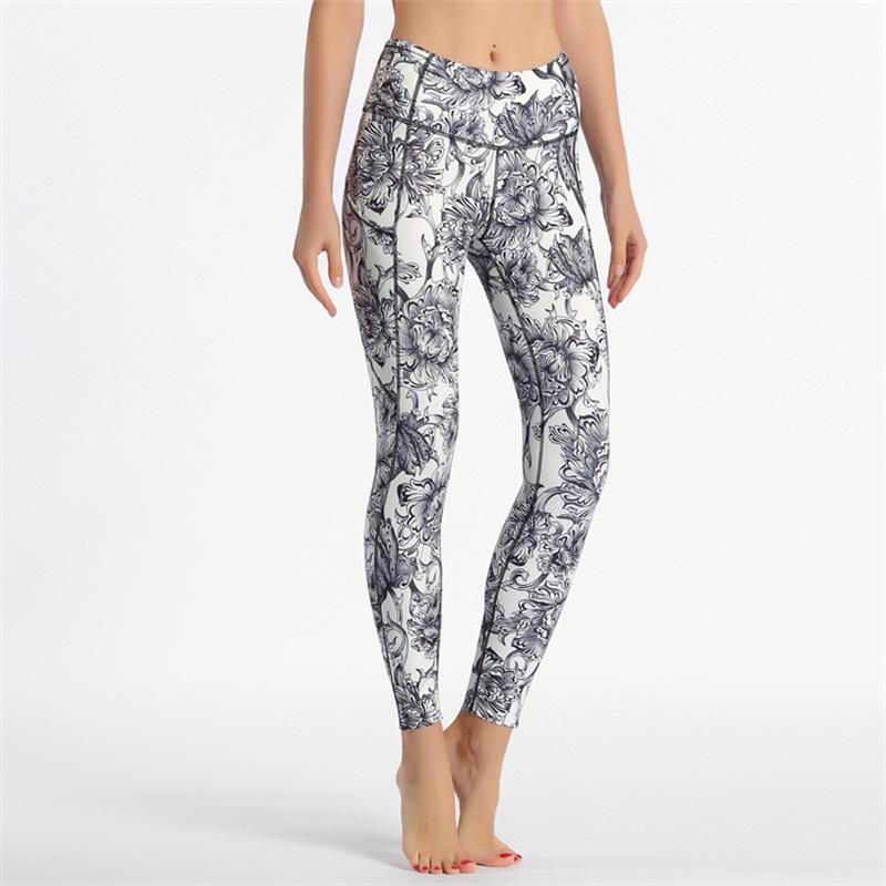 Womens Sexy Beauty Hips Gyms Calças Floral Impresso Cintura Stretchy Fitness Yoga Leggings Tummy Control Esporte Pant Vestuário 65om E19 Qufiw